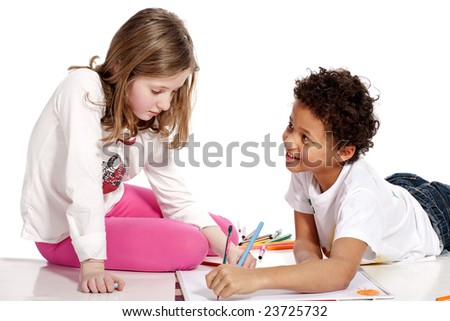 interracial  children drawing together, isolated on white background