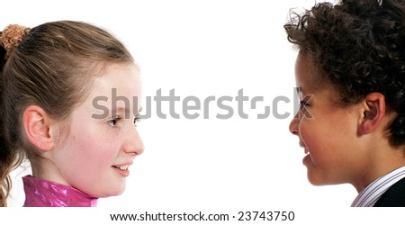 interracial couple laughs together isolated on white background