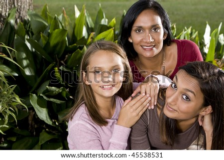 Interracial family - Indian mother with mixed-race daughters