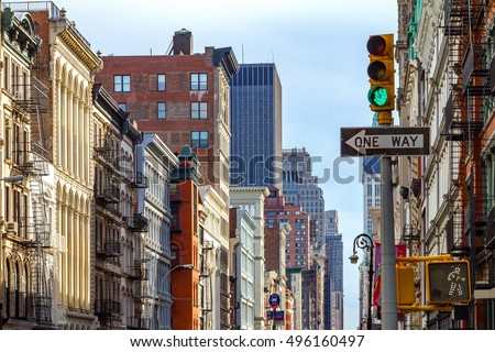 Intersection of Broadway and Spring Street in SOHO Manhattan, New York City