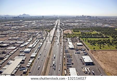 Interstate 10 approaching the 'Stack' interchange in Phoenix, Arizona - stock photo