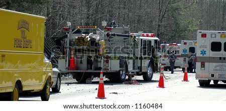 Interstate crash accident with Firetruck and rescue workers