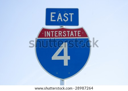 Interstate 4 East road sign on the side of the highway