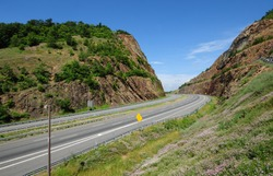 Interstate Highway 68, also called the National Freeway, running through Sideling Hill in the Allegheny Mountains, part of the Appalachian Mountain Range, in western Maryland