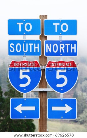 Interstate 5 sign near Roseburg Oregon showing both North and South entrances