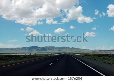 Interstate 80 Through the Great Salt Lake Desert