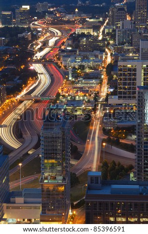 Interstate 85 winds through downtown Atlanta, Georgia, USA.