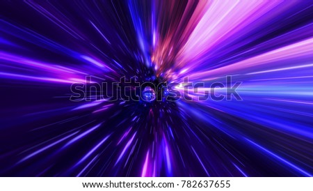 Stock Photo Interstellar, time travel and hyper jump in space. Flying through wormhole tunnel or abstract energy vortex. Singularity, gravitational waves and spacetime concept.