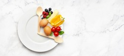 Interval fasting diet concept on white