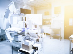Interventional Radiology room with c-arm machine and ultrasound for catheter operation