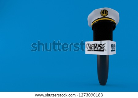 Interview microphone with captain s hat isolated on blue background. 3d  illustration 58a27c58fe51