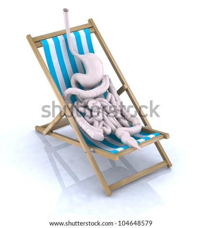 intestines and stomach tired they rest on beach chair, 3d illustration
