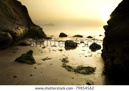 Intimate view of Half Moon Bay at dawn