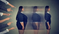 Intimidated obese woman transforms her body through strict new diet becomes a slim girl