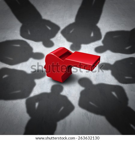 Intimidation of whistleblower concept and whistle blower stress symbol as pressure for exposing corruption with shadows of people who do not follw the rules as a red whistler shaped as a human head. Stock photo ©
