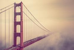 Into the Fog. San Francisco Golden Gate Bridge Foggy Scenery.