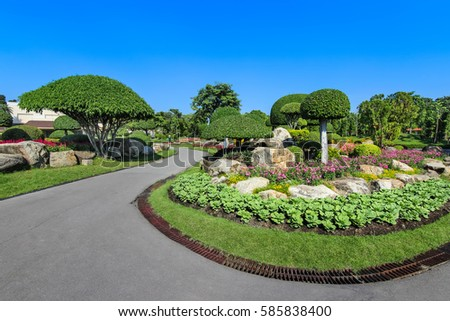 Into the garden, beautiful scenic park in Thailand #585838400
