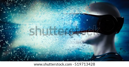 Into virtual reality world. Man wearing goggle headset. Future technology. 3D rendering