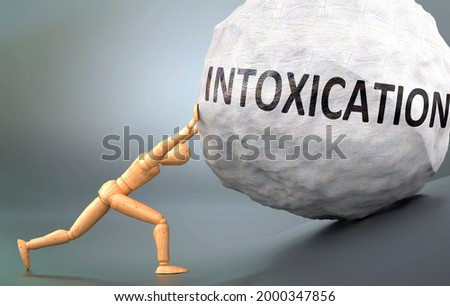 Intoxication and painful human condition, pictured as a wooden human figure pushing heavy weight to show how hard it can be to deal with Intoxication in human life, 3d illustration ストックフォト ©