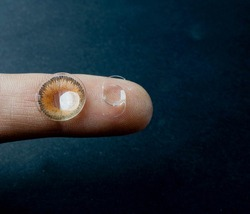 Intra ocular lens of cataract surgery and contact lens on the finger tip