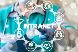 Intranet - corporate internet global network medical technology. Pharmaceutical networking data management concept.