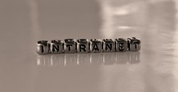 Intranet -  word from metal blocks - concept sepia tone photo on shine background