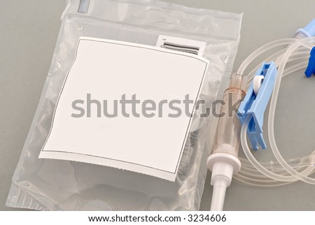 Intravenous bag of antibiotic ready for patient. Copyspace on front for text.