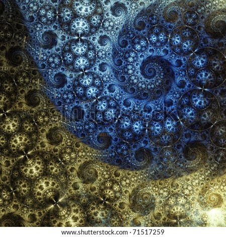 Intricate blue and gold abstract fractal spiral on black background