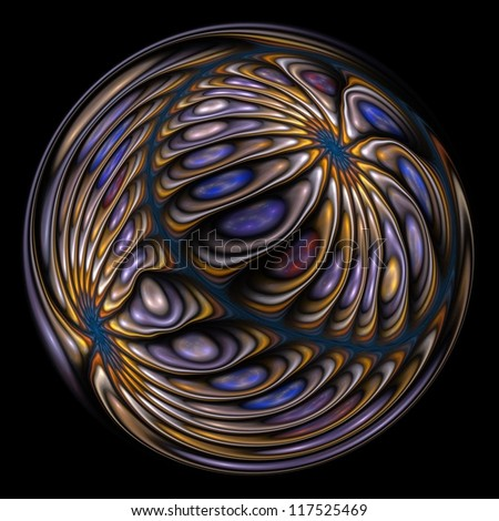 Intricate blue, purple, gold and silver abstract sphere on black background