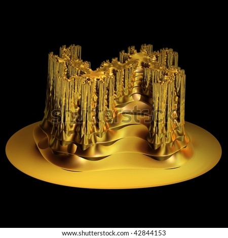 Intricate 3D gold fractal castle / sculpture on black background