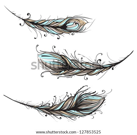 Intricate Decorative Feathers Illustration. Raster variant.
