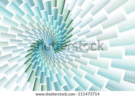Intricate green / blue abstract brick spiral design on white background #111473714