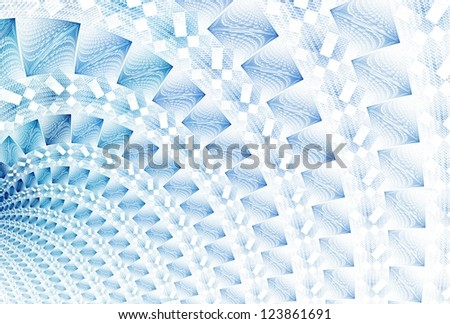Intricate ice blue abstract woven curve / arch design on white background