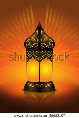 intricate Islamic floor lamp  illustration #36653107