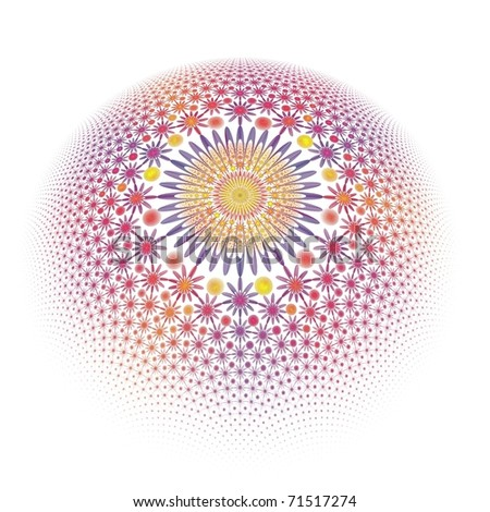 Intricate pink, purple, blue and yellow fractal flower / hemisphere on white background