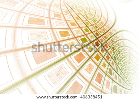 Intricate red, orange and green purple abstract 3D curved grid design on white background  #406338451