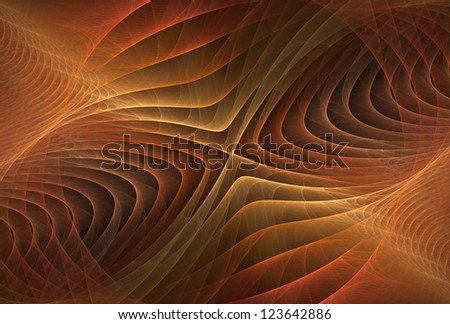 Intricate red / orange / copper and gold abstract cross ripple design on black background