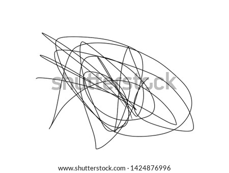 intricate scribbled handwriting spiral swirl tornado wire circle down left right up down messy. when the mind is dizzy headache thinking about life. Copy space empty blank black white shape ink art.