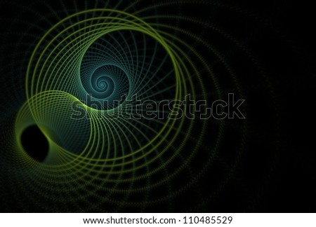 Intricate teal / green string spiral design on black background - stock photo