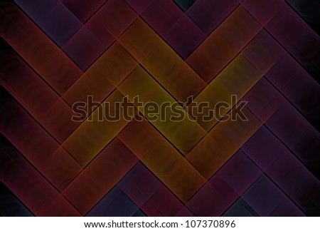Intricate yellow, orange, pink and purple woven string design on black background