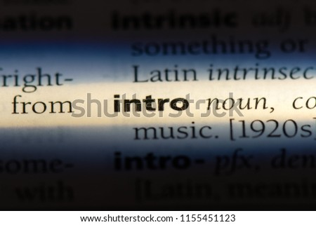 intro word in a dictionary. intro concept. #1155451123