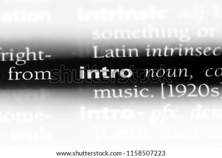 intro word in a dictionary. intro concept. #1158507223