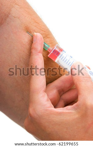 introduction of intravenous injection isolated on white background