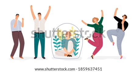Introvert vs extravert. Introverted girl character, flat happy men and woman dancing. Extraversion, Introversion concept Foto stock ©