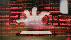 intrusion of privacy. hacker reaching in to smartphone mobile device and scramble the phone. double exposure hand reaching for phone and red binary code with negative error text.