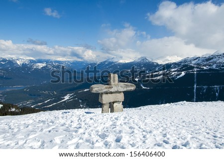 Inukshuk in the snow at Whistler