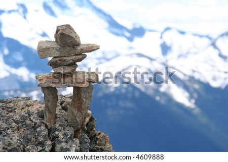 Inukshuk on top of Whistler mountain.  Symbol of the 2010 Winter Olympics to be held in Vancouver.