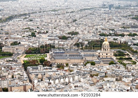 Invalides, birds view from Eiffel tower, Paris, France