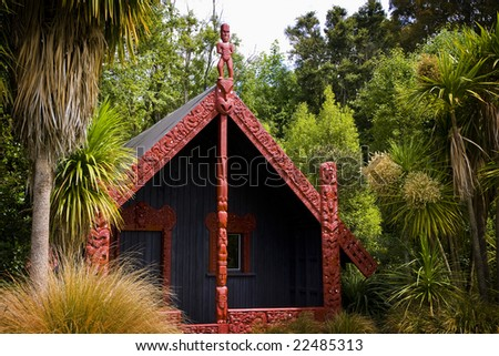 INVERCARGILL - Dec 27, 2008. Traditional carved meeting houses are a central part of the New Zealand Maori culture, as seen here at Anderson Park in Invercargill on Dec 27, 2008.