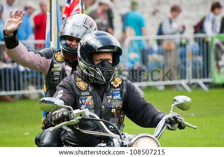 INVERNESS, SCOTLAND - JULY 21: Unidentified bikers from The Royal British Legion at the annual Inverness Highland Games & Armed Forces Day celebrations on July 21, 2012 in Inverness, Scotland - stock photo